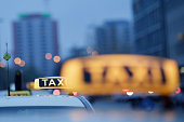 Taxi cars stay in front of the Ostbahnhof railway station during a fourday strike by the GDL train drivers labor union on November 6 2014 in Berlin...