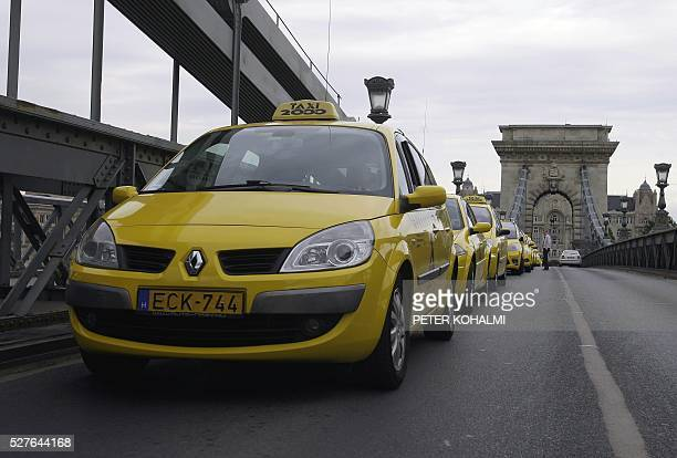 Taxi drivers block the oldest bridge in Budapest the Chain Bridge on May 03 2016 Taxi drivers protest against the illegal taxi providers in the...