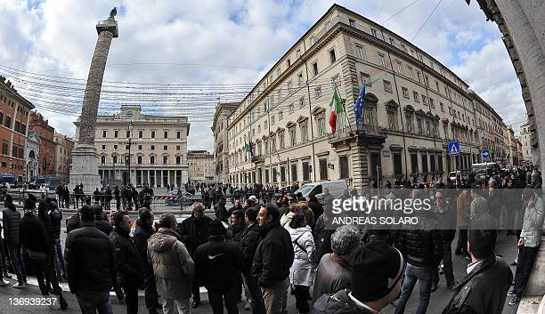 Taxi drivers protest against measures to liberalise services on transport for the taxis of the iIalian government in front of Palazzo Chigi Italy's...