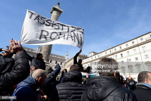 Taxi drivers protest against the Bolkestein Directive in front of Palazzo Chigi on February 21 2017 in Rome Italy