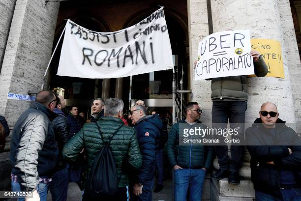 Taxi drivers protesting against the Bolkestein Directive in front of Palazzo Chigi on February 21 2017 in Rome Italy