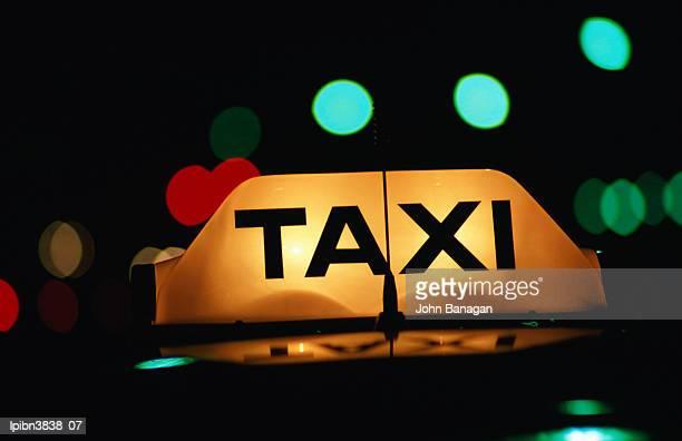 Taxi light at night, Adelaide, South Australia, Australia, Australasia