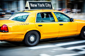 Taxi on street of New York City
