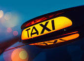 Close up of a London taxi sign