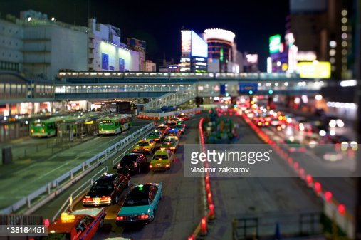 Taxi stand at Shibuya station : Stock Photo