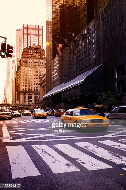 Taxi Traffic at Sunset,NYC.