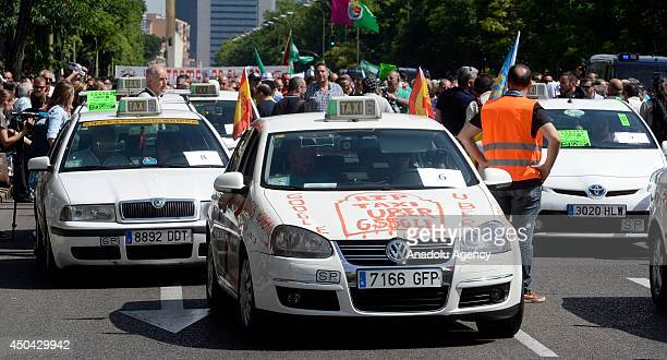 Taxicab drivers in Mardid hold a rally at Cuzco square to protest against the alternative transportation portals being referred frequently in recent...