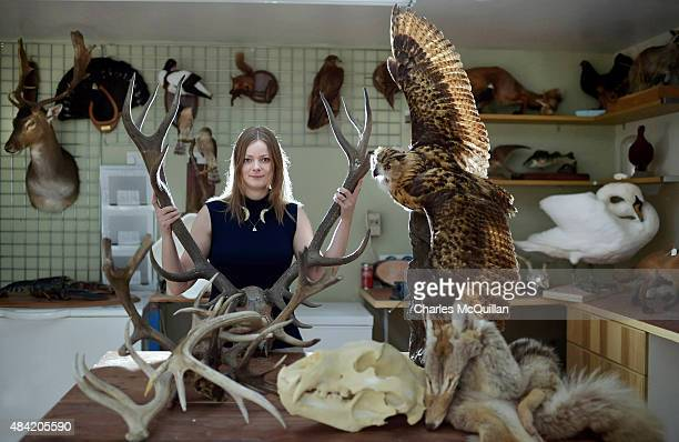 Taxidermist and Game of Thrones supplier of creature and fur skins Ingrid Houwers pictured in her workshop with some of her creations previously used...
