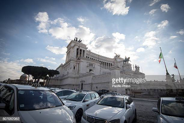 Taxies lineup with Piazza Venezia at the background during demonstration in Italy Taxi drivers protest in downtown Rome Piazza Santi Apostoli...