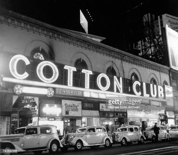 Taxis line up out side of the Cotton Club at Broadway and 48th Street circa 1938 in New York City New York