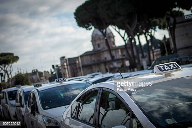 Taxis lineup during the demonstration in Italy Taxi drivers protest in downtown Rome Piazza Santi Apostoli coinciding with the European Day of Action...