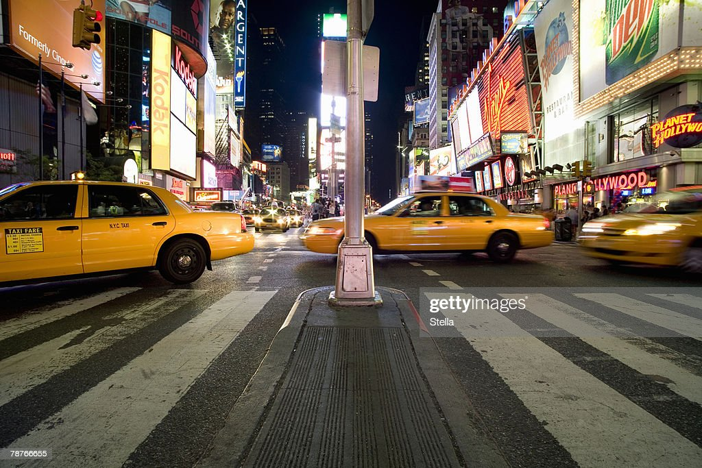 Taxis on Times Square in Manhattan