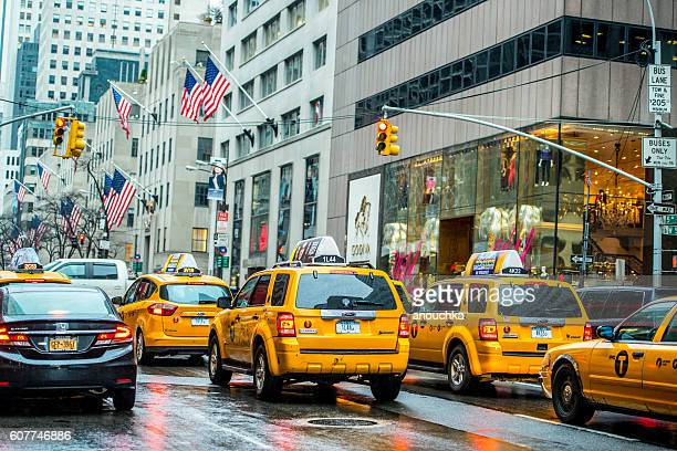 Taxis stuck in traffic on 5th Avenue, NYC