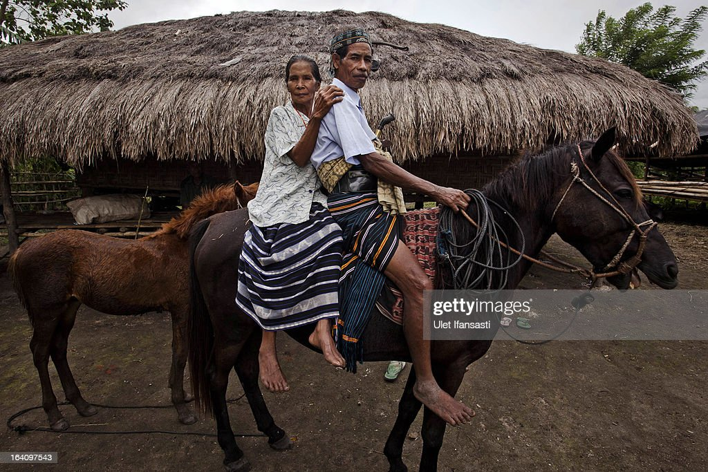 Tay Tipajawa and his wife Lemba Muji sits on horseback and poses for a photo on March 2 2013 in Sumba Island East Nusa Tenggara Indonesia Sandalwood...