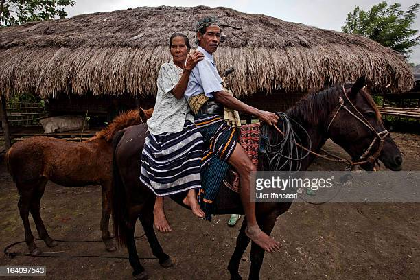 Tay Tipajawa and his wife Lemba Muji sits on horseback and poses for a photo on March 2 2013 in Sumba Island East Nusa Tenggara Indonesia Sandalwood...