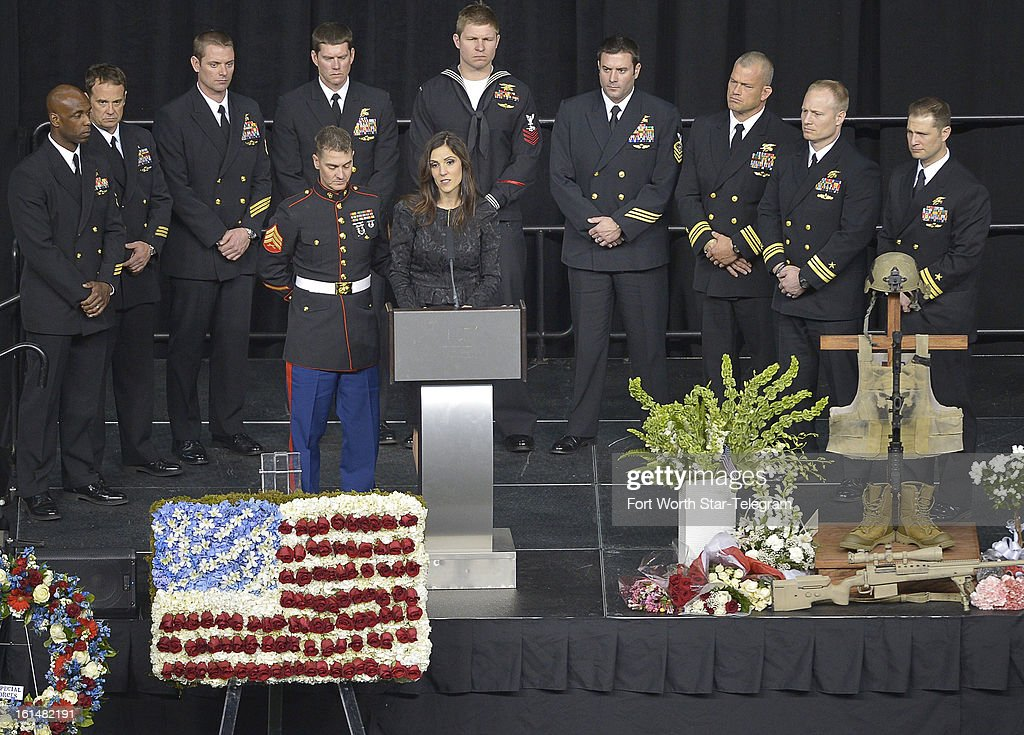 Taya Kyle addresses the audience at the funeral of her husband, Chris Kyle, at Cowboys Stadium in Arlington, Texas, Monday, February 11, 2013. Kyle was a highly decorated former Navy SEAL sniper who was shot and killed at a shooting range last week.