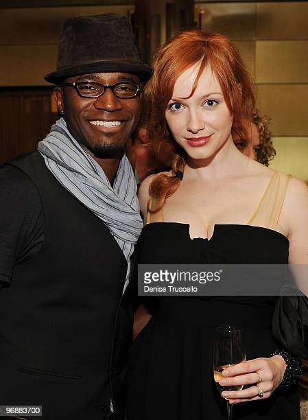 Taye Diggs and Christina Hendricks attend the reception for the world premiere of Cirque du Soleil's 'Viva ELVIS' at Aria in CityCenter on February...
