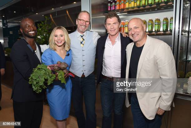 Taye Diggs Kristen Bell CEO The Wholesome Wave Michel Nischan Bobby Flay and Tom Colicchio attend the 2017 #DrinkGoodDoGood campaign launch at Little...
