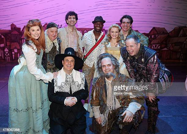 Taye Diggs poses with the cast backstage at the hit musical 'Something Rotten' on Broadway at The St James Theater June 21 2015 in New York City