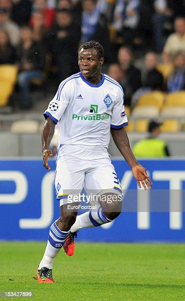 Taye Taiwo of FC Dynamo Kyiv in action during the UEFA Champions League group stage match between FC Dynamo Kyiv and GNK Dinamo Zagreb at the...