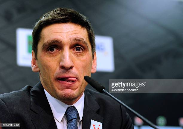 Tayfun Korkut attends a Press Conference as he is announced as the new head coach of Hannover 96 at HDIArena on January 3 2014 in Hanover Germany...