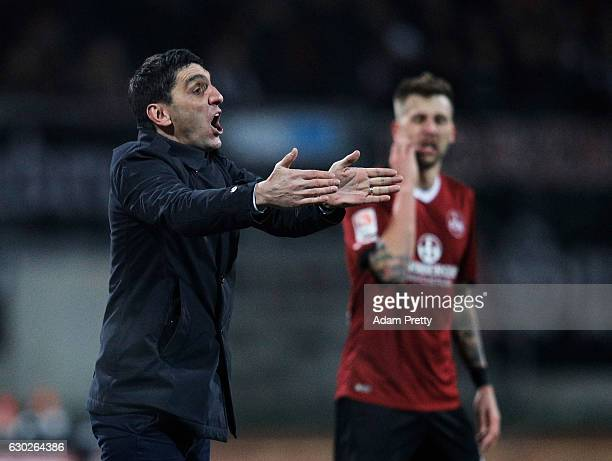 Tayfun Korkut head coach of 1 FC Kaiserslautern in action during the Second Bundesliga match between 1 FC Nuernberg and 1 FC Kaiserslautern at Arena...