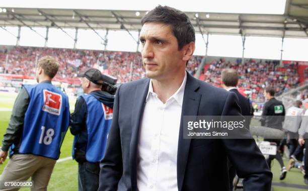 Tayfun Korkut head coach of Leverkusen arrives for the Bundesliga match between FC Ingolstadt 04 and Bayer 04 Leverkusen at Audi Sportpark on May 6...