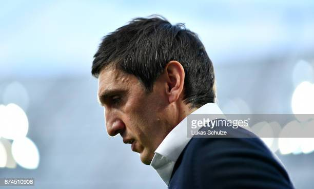 Tayfun Korkut head coach of Leverkusen looks on before the Bundesliga match between Bayer 04 Leverkusen and FC Schalke 04 at BayArena on April 28...