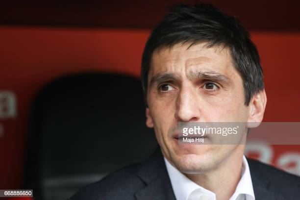 Tayfun Korkut head coach of Leverkusen looks on prior the Bundesliga match between Bayer 04 Leverkusen and Bayern Muenchen at BayArena on April 15...