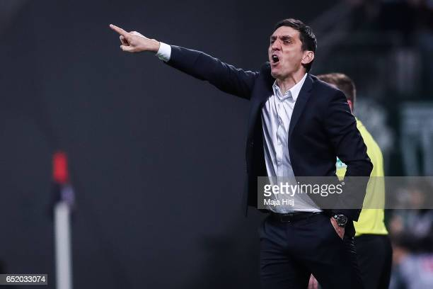 Tayfun Korkut head coach of Leverkusen reacts during the Bundesliga match between Bayer 04 Leverkusen and Werder Bremen at BayArena on March 10 2017...