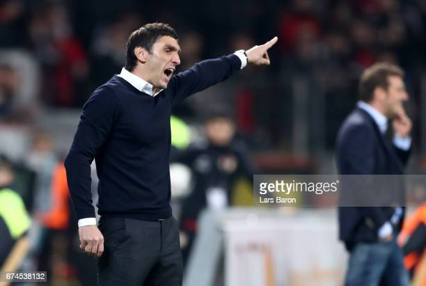 Tayfun Korkut head coach of Leverkusen reacts during the Bundesliga match between Bayer 04 Leverkusen and FC Schalke 04 at BayArena on April 28 2017...