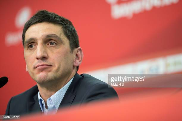 Tayfun Korkut the newly appointed head coach of Bayer Leverkusen speaks during a press conference on March 6 2017 in Leverkusen Germany