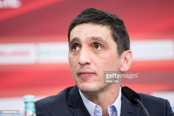 Tayfun Korkut the newly appointed head coach of Bayer Leverkusen looks on during a press conference on March 6 2017 in Leverkusen Germany