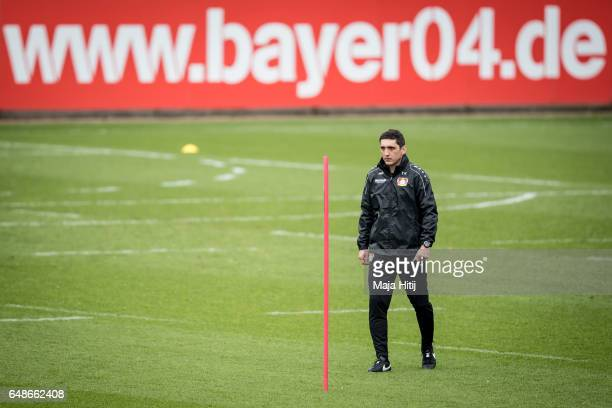 Tayfun Korkut the newly appointed head coach of Bayer Leverkusen looks on during the training on March 6 2017 in Leverkusen Germany