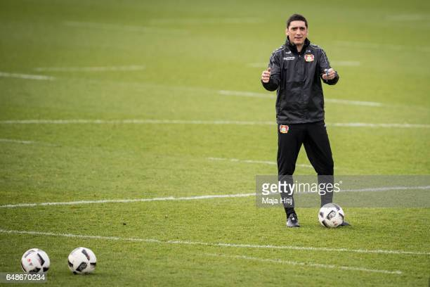Tayfun Korkut the newly appointed head coach of Bayer Leverkusen gestures during the training on March 6 2017 in Leverkusen Germany