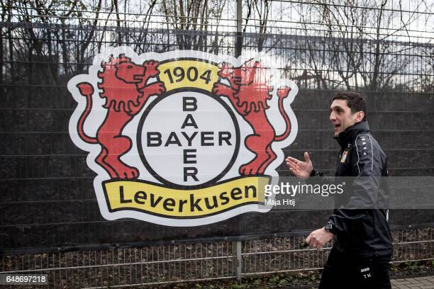 Tayfun Korkut the newly appointed head coach of Bayer Leverkusen leaves after the training on March 6 2017 in Leverkusen Germany