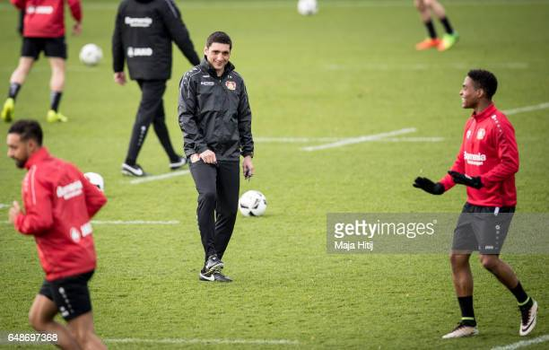 Tayfun Korkut the newly appointed head coach of Bayer Leverkusen smiles during the training on March 6 2017 in Leverkusen Germany
