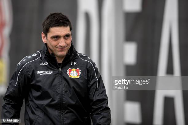 Tayfun Korkut the newly appointed head coach of Bayer Leverkusen arrives to the training on March 6 2017 in Leverkusen Germany