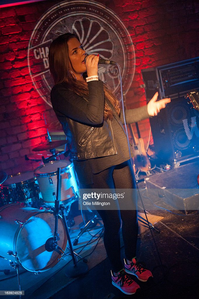 Tayla Blue performs on stage supporting Charlee Drew at The Crumblin Cookie on March 2, 2013 in Leicester, England.