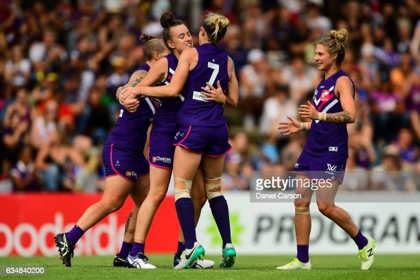 Tayla Bresland of the Dockers celebrates a goal during the 2017 AFLW Round 02 match between the Fremantle Dockers and the Brisbane Lions at Fremantle...