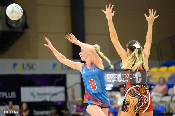 Tayla Fraser of the Waratahs catches the ball during the round seven Australian Netball League match between the Storm and the Waratahs at University...