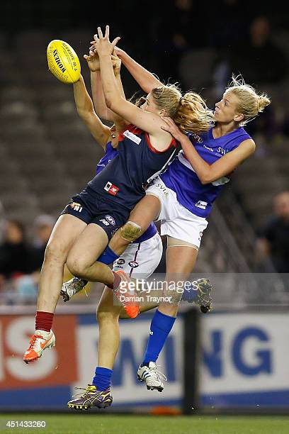 Tayla Harris of Melbourne attempts to mark the ball during the women's exhibition AFL match between the Western Bulldogs and the Melbourne Demons at...