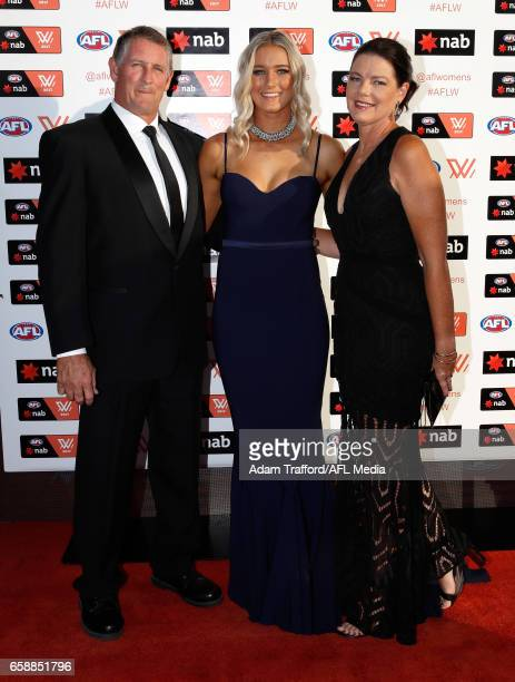 Tayla Harris of the Lions arrives with family during the The W Awards at the Peninsula on March 28 2017 in Melbourne Australia