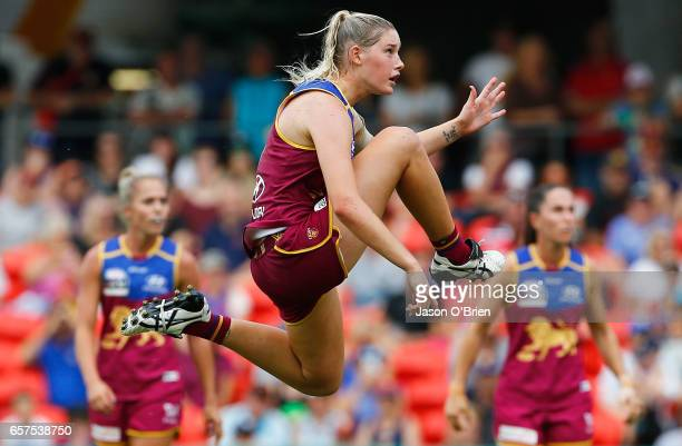 Tayla Harris of the Lions in action during the AFL Women's Grand Final between the Brisbane Lions and the Adelaide Crows on March 25 2017 in Gold...
