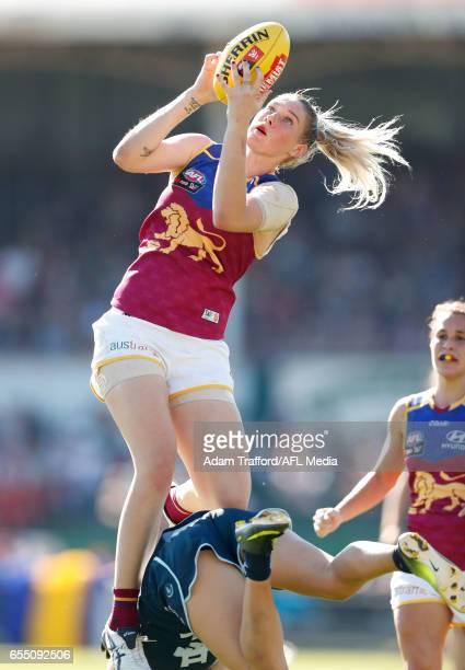 Tayla Harris of the Lions marks the ball during the 2017 AFLW Round 07 match between the Carlton Blues and the Brisbane Lions at Ikon Park on March...