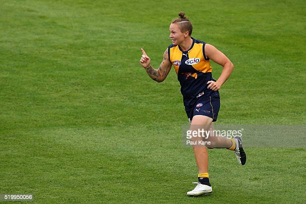Taylah Angel of the Eagles celebrates a goal during the Women's AFL Exhibition Match between the West Coast Eagles and the Fremantle Dockers at...
