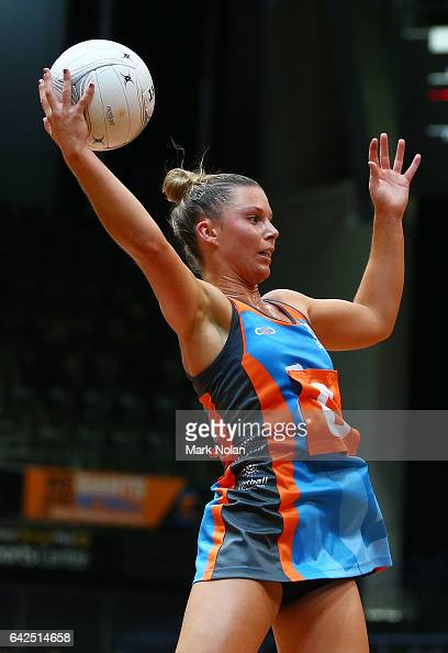 Taylah Davies of Canberra in action during round one of the ANL match between Canberra Giants and Netball NSW Waratahs at Sydney Olympic Park Sports...