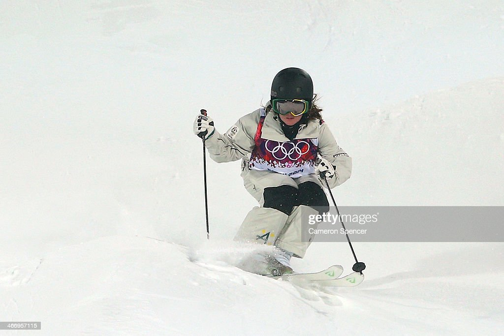 Taylah Oneill of Australia trains during moguls practice at the Extreme Park at Rosa Khutor Mountain ahead of the Sochi 2014 Winter Olympics on February 5, 2014 in Sochi, Russia