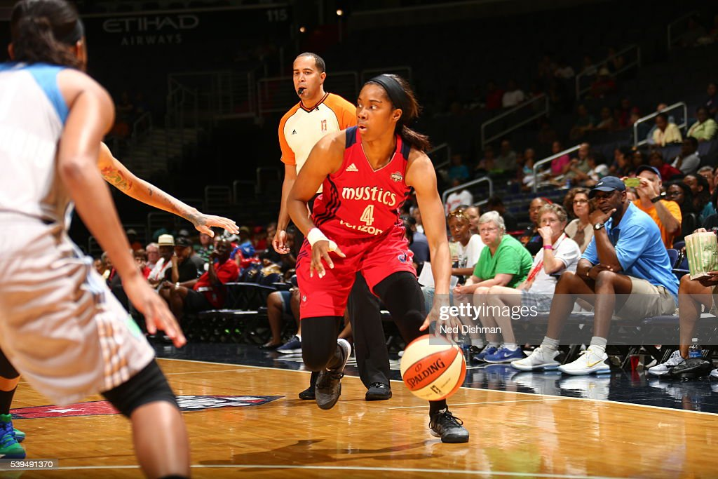Tayler Hill of the Washington Mystics dribbles the ball against the Minnesota Lynx on June 11 2016 at Verizon Center in Washington DC NOTE TO USER...