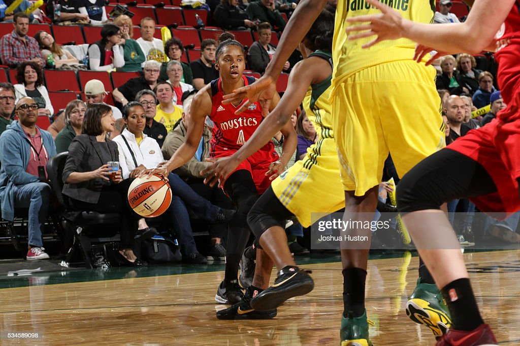Tayler Hill #4 of the Washington Mystics drives to the basket against the Seattle Storm during the game on May 26, 2016 at Key Arena in Seattle, Washington.